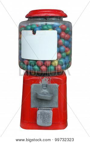 Candy dispenser, Gum ball machine, Vending machine with white empty label