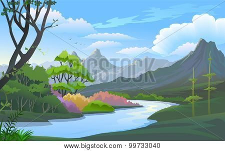 Beauty of nature : River in a scenic hilly place