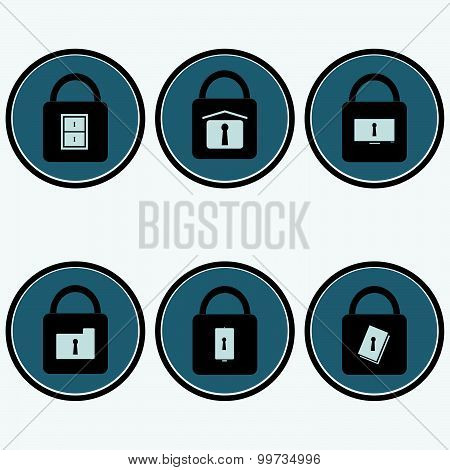 Flat design icon set of data security solution vector illustration.