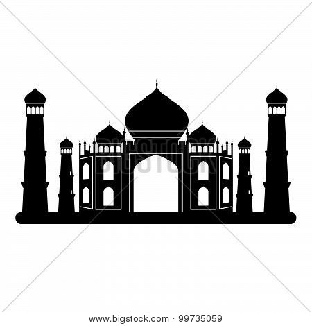 Taj Mahal Temple Black And White. Vector Illustration.