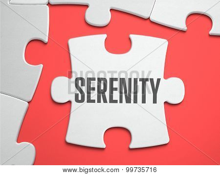 Serenity - Text on Puzzle on the Place of Missing Pieces. Scarlett Background. Close-up. 3d Illustration. poster