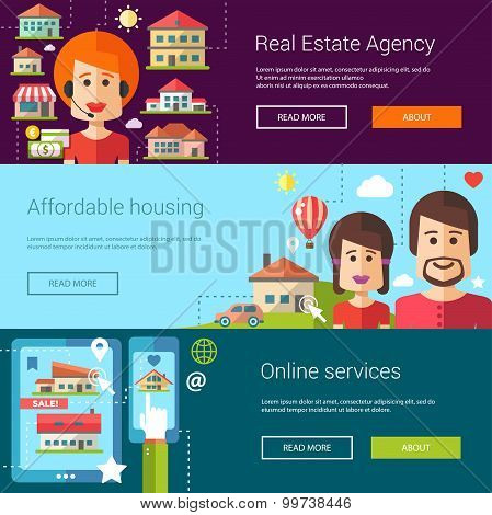 Set of real estate flat modern illustrations, banners, headers with icons, buildings and characters.