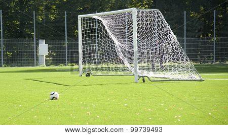 Football. A Ball On A Grass And Football Gate.