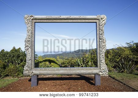 Giant frame with panoramic view of the Waitakere Ranges