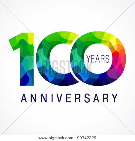 100 years old celebrating colored logo. Anniversary year of 100 th vector template numbers. Happy birthday greetings celebrates. Stained-glass digits of jubilee ages. Mosaic pattern figures in various colors.