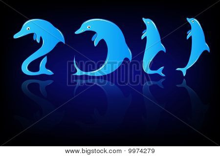 New Year with dolphin numbers