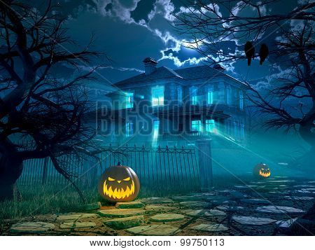 Halloween night background with scary house. 3d rendering