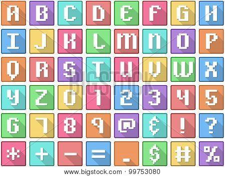 Alphabet Numbers Symbols Flat Square Icons Arcade
