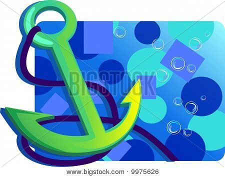 Illustration of an anchor isolated with rope in a bubble  background poster
