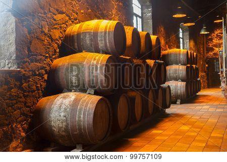cellar with wine barrels