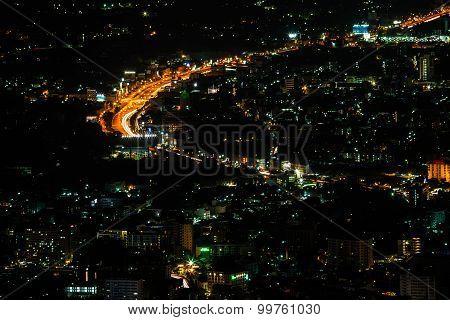 Chiang Mai City View At Nigh, Thailand