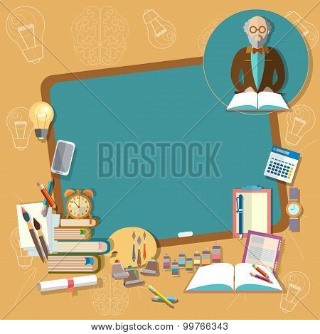 Back To School Education School Board Professor Teacher Classroom Textbooks Notebooks