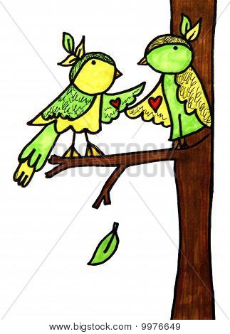 Love Birds Cartoon
