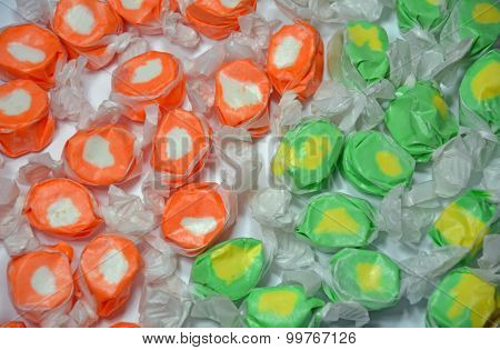 Green And Orange Taffy Candy