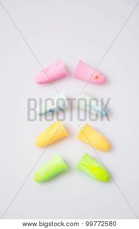a nice photo of some colourful earplugs