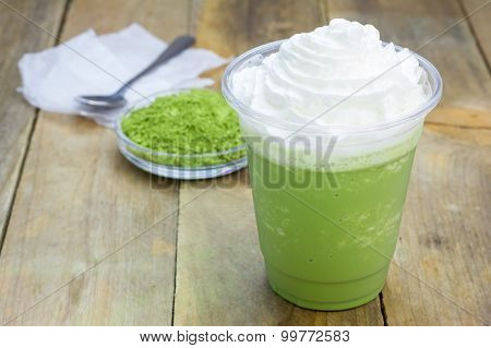 Homemade Green Tea Frappe In Plastic Cup