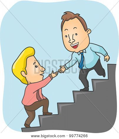 Illustration of a Man Offering a Helping Hand to His Co Worker