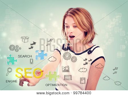 Woman Activating An Seo Interface