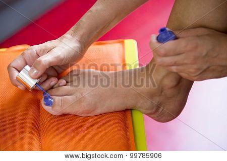 Closeup Of Foot With Nailpolish