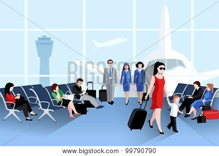 People On Airport Composition