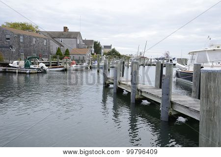 Boats Docked In The Harbor By Stonington Connecticut