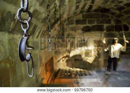 Closeup Shackles Inside Of Bodrum Castle Bottom Used To Be The Dungeons