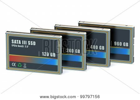 Set of SSD isolated on white background poster