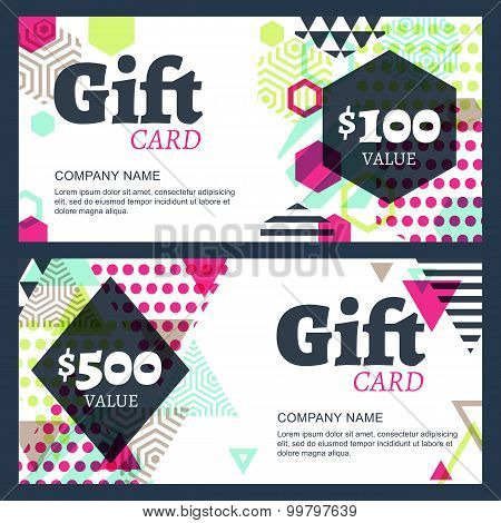 Vector Creative Gift Voucher Or Card Background Template. Abstract Colorful Geometric Pattern.