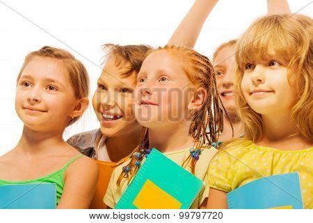 Five happy kids with smile portrait