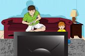 A vector illustration of a father and his son playing video games poster