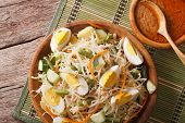 Traditional Indonesian salad gado-gado with peanut sauce close-up on the table. Horizontal top view above poster