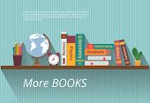 Books on bookshelf. Study knowledge, furniture and wall, textbook, and information, encyclopedia science, vector illustration poster