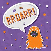 Vector background with shabby bones seamless pattern. Scary but cute fluffy halloween monster hungry for sweets with toothy smile. Speech bubble with slang RROARR! Speech bubble with words. Good for invitations banners and other holiday stuff. poster