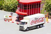 Mini Israel, Israel - April 15, 2015: Miniature truck Coca Cola Factory in Mini Israel on April 15, 2015 poster