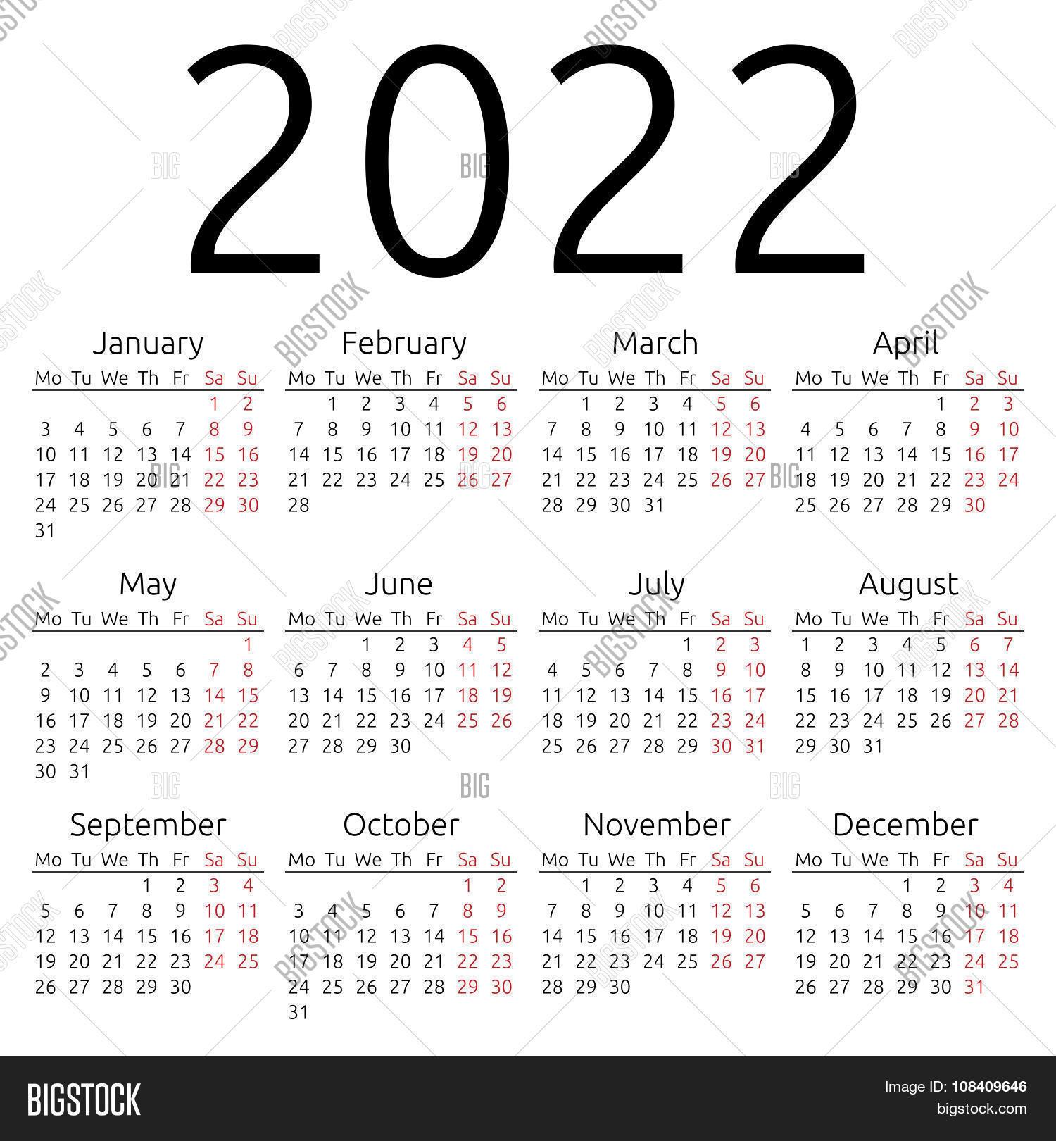Big Calendar 2022.Simple Calendar 2022 Vector Photo Free Trial Bigstock