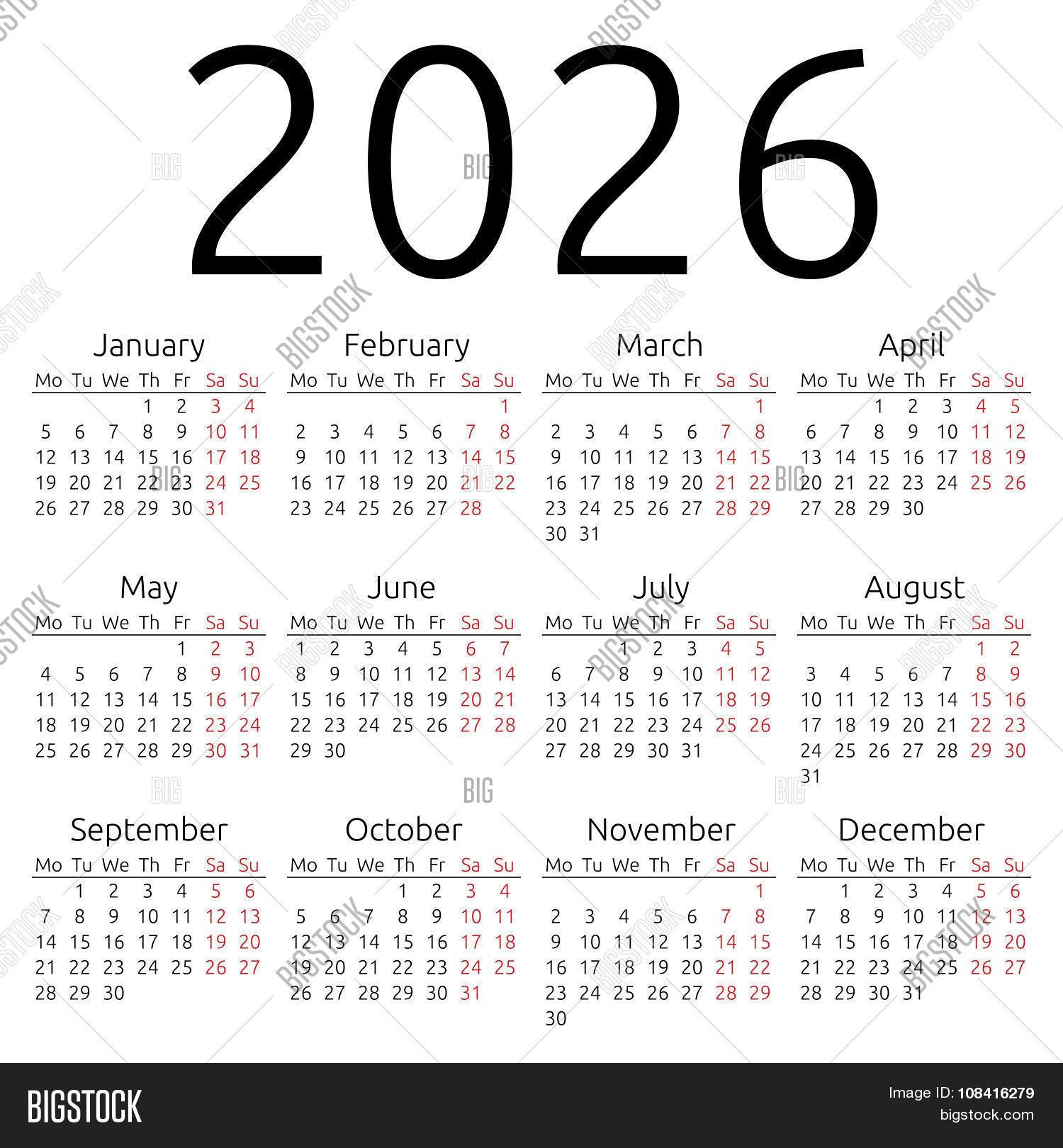 Simple Calendar 2026 Vector & Photo (Free Trial)   Bigstock
