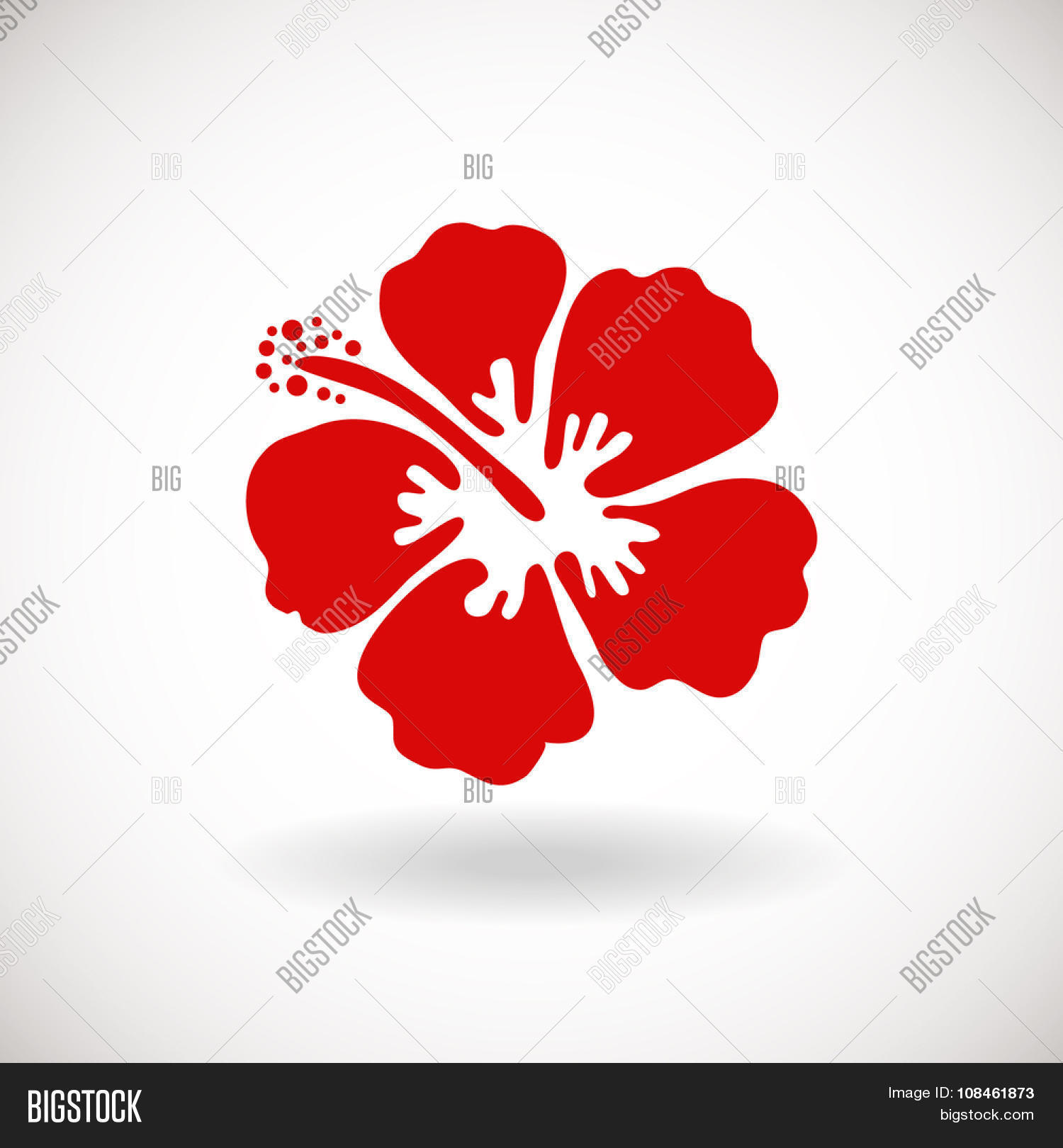 Red Hibiscus Flower On White Vector Photo Bigstock