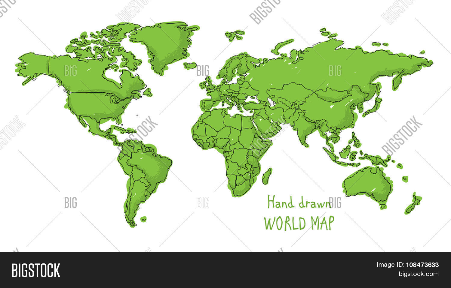 Hand drawn world map vector photo free trial bigstock hand drawn world map doodled with a childish cartoon style contouring the countries gumiabroncs Images