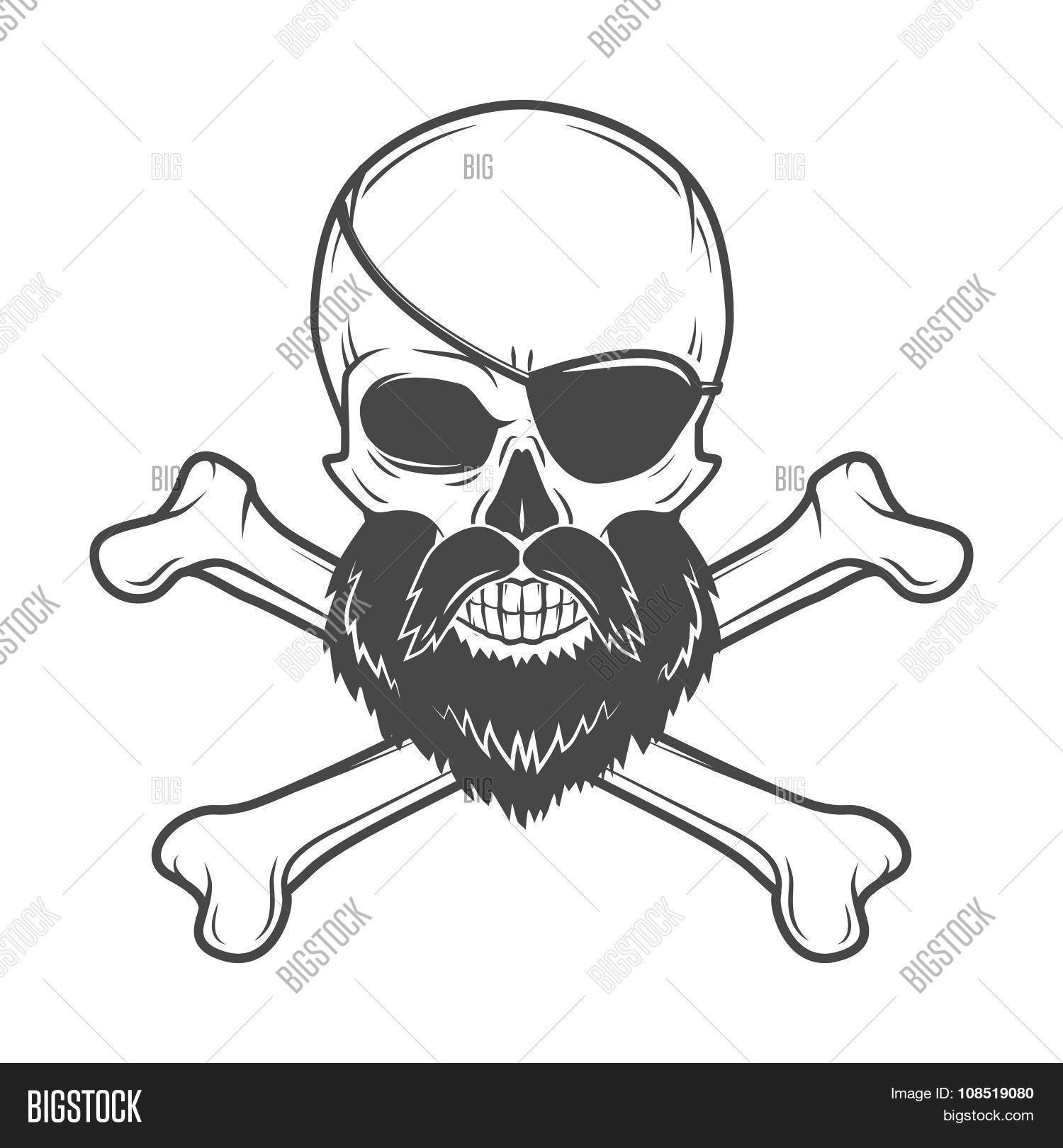 Pirate Skull With Beard Eye Patch And Crossed Bones Vector Edward Teach Portrait