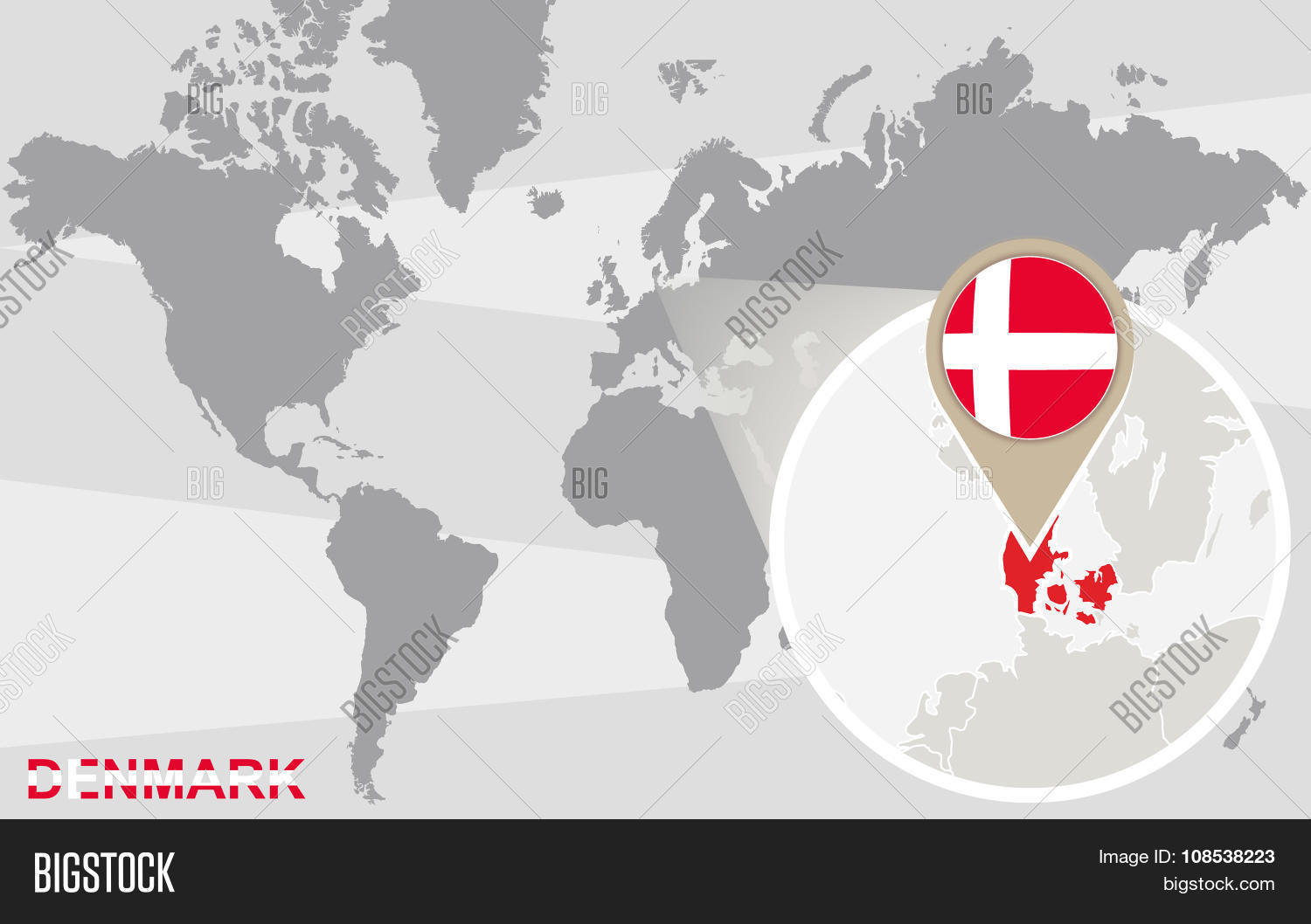 World map magnified denmark vector photo bigstock world map with magnified denmark gumiabroncs Gallery