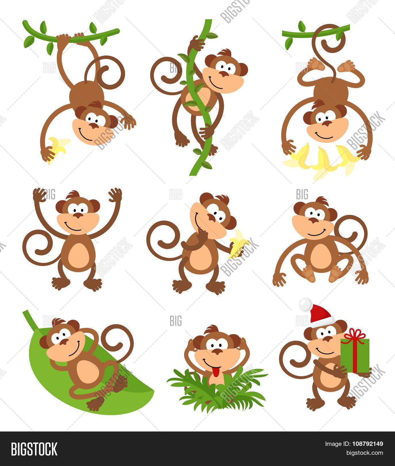 Playful Monkeys Vector Photo Free Trial Bigstock