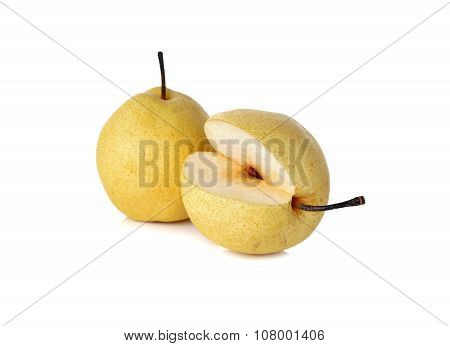 Chinese pear or Nashi pear with stem on white background poster