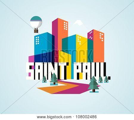 Saint Paul beautiful city to visit. vector cartoon