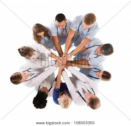 Directly Above Shot Of Multiethnic Medical Team Stacking Hands