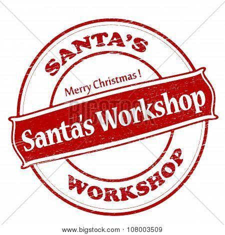 Rubber stamp with text Santa workshop inside vector illustration