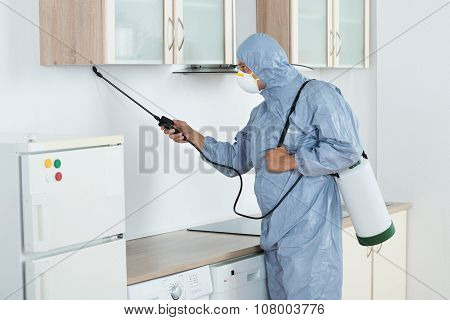 Exterminator In Spraying Pesticide In Kitchen