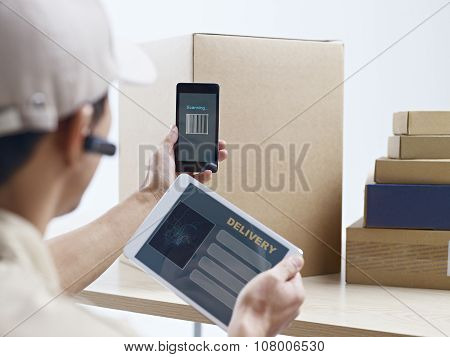 Courier Company Worker At Work