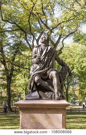 Statue Of Poet/lyricist Robert Burns, Central Park, New York