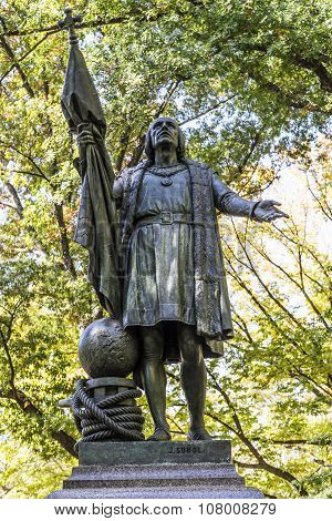 Statue Of Columbus Inside The Central Park In Manhattan