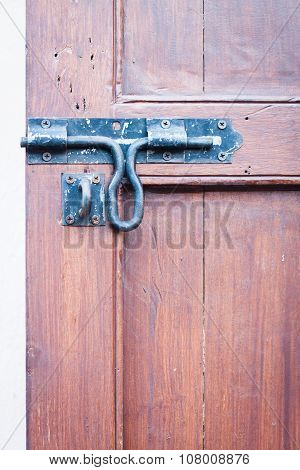 Closeup Vintage Wooden Door Locked